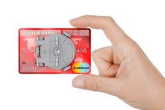 Zabezpiecza Online bankowości pojęcie Zbliżenie kobiety ręki chwyta kredyt Ca Zdjęcie Royalty Free