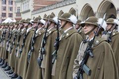 Zabezpiecza Polska NATO-WSKĄ mile widziany ceremonię w Krakow, Polska zdjęcie stock