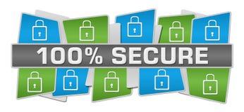Zabezpiecza Sto procentów kwadratów wierzchołka Zielonego Błękitnego dno Zdjęcia Stock