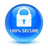 100% zabezpiecza szklistego cyan błękitnego round guzika Obrazy Royalty Free
