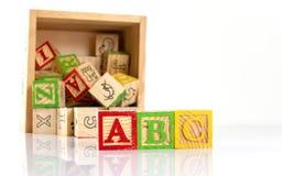 zablokuj abc, drewniany Fotografia Stock