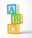 zablokuj drewnianą alfabet Fotografia Stock