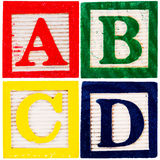zablokuj drewnianą alfabet Zdjęcia Stock