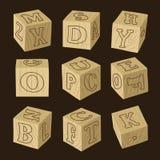 zablokuj drewnianą alfabet Zdjęcia Royalty Free