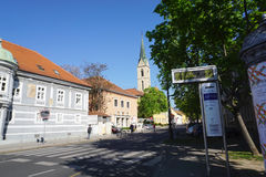 Zabreb busstop with beautiful tower background. Zagreb, Croatia - 10 April ,2017 : Zabreb busstop with beautiful tower background on 10 April 2017 in Zagreb Stock Photo