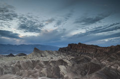 Zabriskie Point cloudy dusk Royalty Free Stock Photo