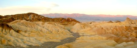Zabriskie Point Panorama at Sunrise Royalty Free Stock Photos