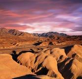 Zabriskie Point Ridges. A Desert Highway Traversing The Bizarre Mars-Like Landscape Of Heavily Eroded Ridges At Zabriskie Point, Death Valley National Park Stock Photography