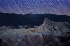 Zabriskie point star trails Royalty Free Stock Photography