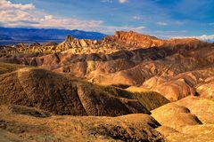 Zabriskie Point at sunset, Death Valley National Park, California Royalty Free Stock Photo