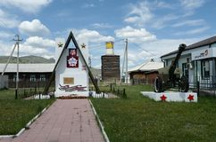 Zabytek żołnierze które spadali w Wielkiej Patriotycznej wojnie w dzielnicowym centrum Ulagan w Altai republice obraz royalty free