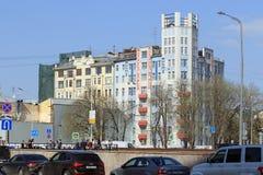 Zabytek architektura Mosselprom budynek w Mosco zdjęcie stock