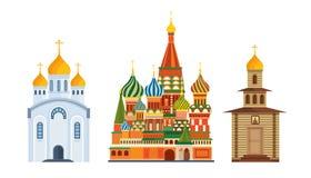 Zabytek architektura, sławny Ortodoksalny kościół Błogosławiący St basil, katedra ilustracji