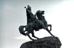 Zabytek Bogdan Khmelnitsky zakończenie przeciw niebu Kyiv, Ukraina zdjęcie royalty free