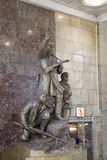 Zabytek bohaterów guerrillas w Moskwa staci metru Partizanskaya, Rosja Zdjęcie Stock