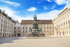 Zabytek cesarz Franz Joseph Ja w austerii dera Bourg w Wiedeń, Austria Zdjęcia Stock