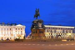 Zabytek cesarz Nicholas Ja na St Isaac ` s kwadracie w Obraz Royalty Free