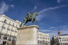 Zabytek Charles III na Puerta Del Sol, Madryt Hiszpania zdjęcia royalty free