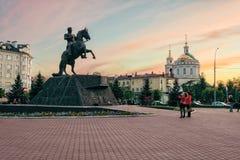 Zabytek generał Yermolov, Orel miasto, Rosja Fotografia Royalty Free