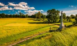 Zabytek i pola przy Antietam Krajowym polem bitwy, Maryland Obrazy Stock