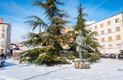Zabytek Jasa Tomic Serbski dziennikarz, polityk i pisarz w zimy tle z śniegiem, zdjęcia royalty free