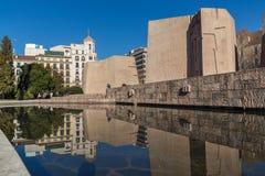 Zabytek Jorge Juan i Santacilia przy Placem De Dwukropek w mieście Madryt, Hiszpania obrazy royalty free