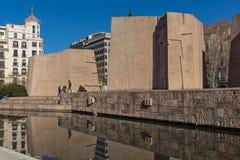 Zabytek Jorge Juan i Santacilia przy Placem De Dwukropek w mieście Madryt, Hiszpania zdjęcia stock