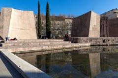 Zabytek Jorge Juan i Santacilia przy Placem De Dwukropek w mieście Madryt, Hiszpania zdjęcia royalty free