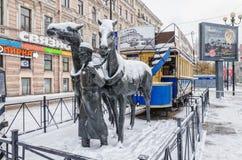 Zabytek koński tramwajowy konka w świętym Petersburg Zdjęcie Royalty Free