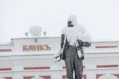 Zabytek Lenin pod śniegiem Obrazy Stock