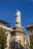 Zabytek Leonardo Da Vinci rzeźbiarzem Pietro Magni, Mediolan, Włochy Obrazy Royalty Free