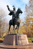 Zabytek Manas Wielkoduszny bohater Kyrgyz epopeja Moskwa, Rosja, park przyjaźń fotografia stock