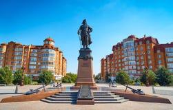Zabytek Peter Wielki na nabrzeżu Karakułowym Zdjęcie Royalty Free