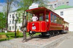 Zabytek pierwszy Vitebsk tramwaj i zabytek dyrygent, Białoruś Obraz Royalty Free