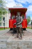 Zabytek pierwszy Vitebsk tramwaj i zabytek dyrygent, Vitebsk, Białoruś Zdjęcie Stock