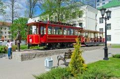 Zabytek pierwszy Vitebsk tramwaj i zabytek dyrygent, Vitebsk, Białoruś Zdjęcia Royalty Free