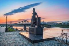Zabytek poeta Pushkin na Volga bulwarze w Tver Obraz Stock