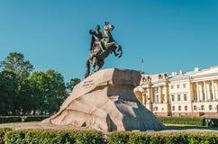 Zabytek Rosyjski cesarz Peter Wielki, znać jako Brązowy Jeździec, w Świątobliwym Petersburg, Rosja Obraz Royalty Free