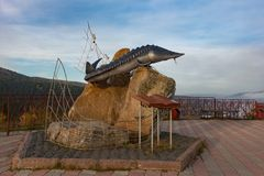 Zabytek ryba na obserwacja pokładzie w Krasnoyarsk zdjęcie royalty free