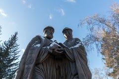 Zabytek saints Peter i Fevronia patrony małżeństwo i rodzina -, zarówno jak i symbole miłość i wierność przeciw zdjęcie stock