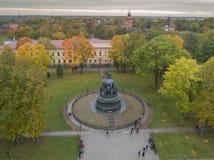 Zabytek 1000th rocznica ochrzczenie Rosja w Novgorod zdjęcia royalty free