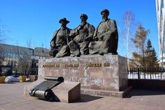 Zabytek uwypukla trzy Wielkich sędziów w Astana zdjęcie stock