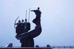 Zabytek założyciele Kyiv: Kiy, Schek, Khoryv i ich siostrzany Lybid, Zakończenie fotografia zdjęcia stock