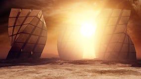 Zabytki Na obcy pustyni planecie ilustracji
