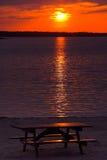 zachód słońca na piknik Zdjęcia Stock