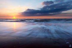 zachód słońca na plaży Obraz Royalty Free