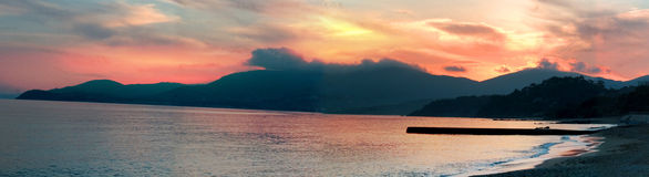 zachód słońca na plaży Obrazy Royalty Free
