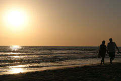 zachód słońca na spacer Obraz Royalty Free