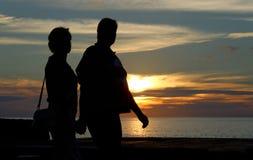 zachód słońca na spacer Zdjęcia Royalty Free