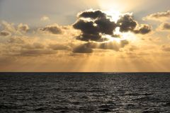 zachód słońca nad morza czarnego morza Śródziemnego Obraz Royalty Free